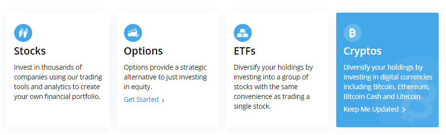 webull for stocks options, etfs, and cryptocurrency